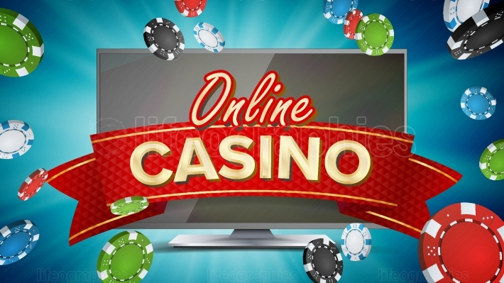 Online Casino Poster Vector  Modern Computer Monitor