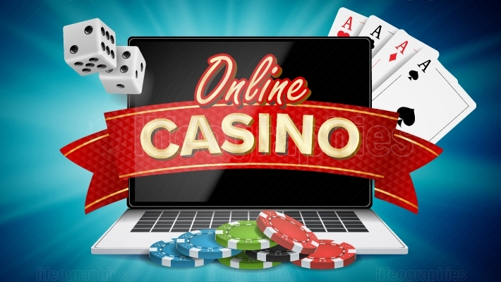 Online Casino Poster Vector  Modern Laptop Concept  Signage, Marketing Luxury Banner, Poster Illustration