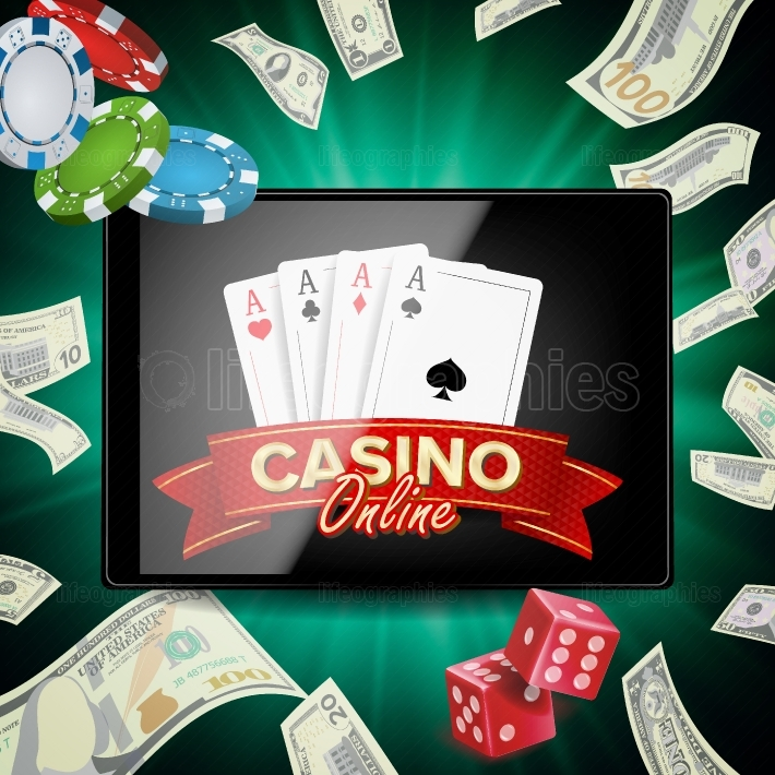 Online Casino Poster Vector  Modern Mobile Tablet Concept  Jackpot Advertising Concept Illustration
