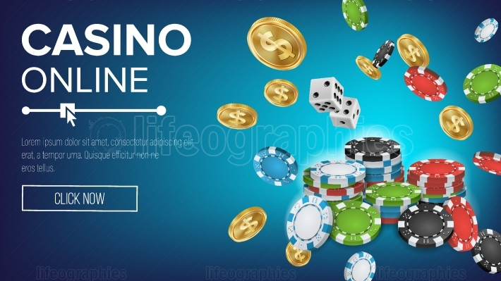 Online Casino Poster Vector  Poker Gambling Casino Sign  Bright Chips, Playing Dice, Dollar Coins  Winner Lucky Symbol  Jackpot Billboard, Marketing Luxury Illustration