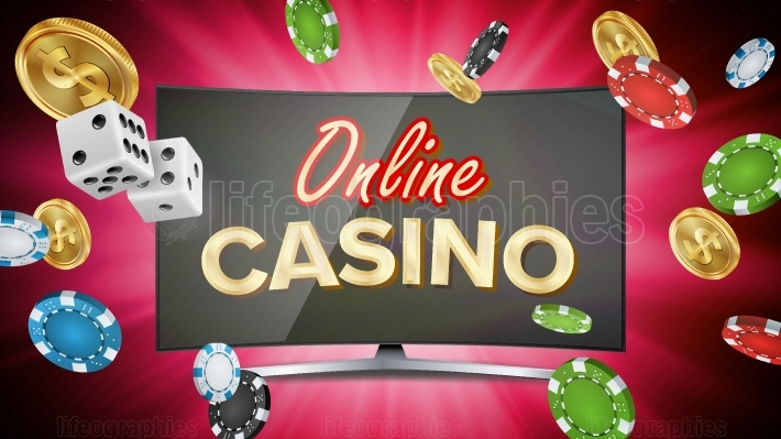 Online Casino Vector  Banner With Computer Monitor  Online Poker Gambling Casino Banner Sign  Bright Chips, Dollar Coins, Banknotes  Illustration