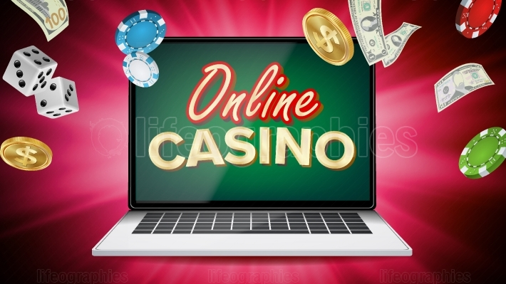 Online Casino Vector  Banner With Laptop  Poker Gambling Casino Poster Sign  Jackpot Billboard, Promo Concept Illustration