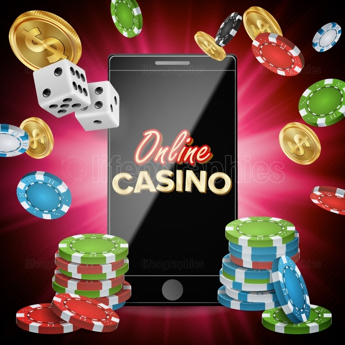 Online Casino Vector  Banner With Mobile Phone  Playing Dice, Dollar Coins  Winner Lucky Symbol  Illustration