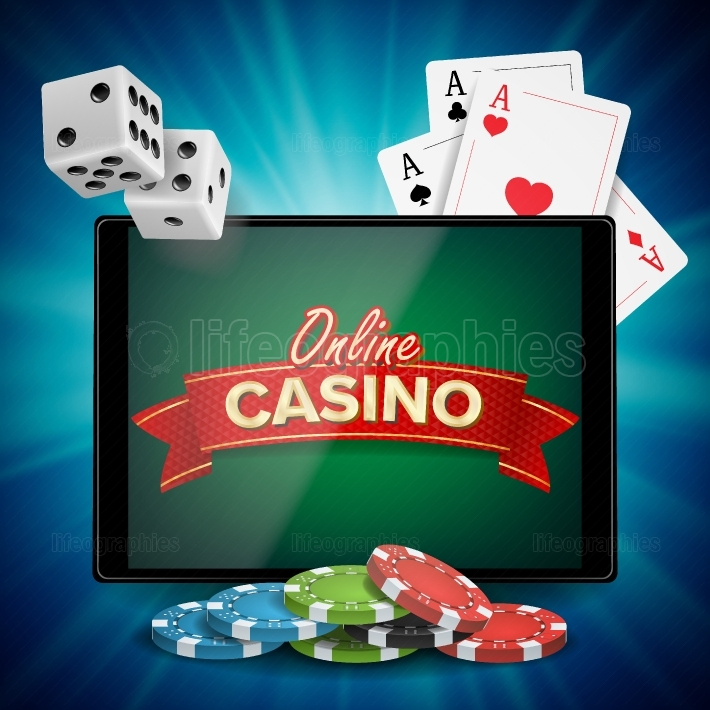 Online Casino Vector  Banner With Tablet  Bright Chips, Dollar Coins  Jackpot Casino Billboard, Signage, Marketing Luxury Poster Illustration