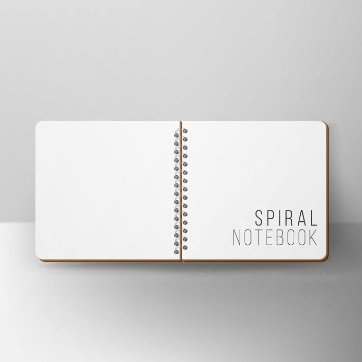 Opened Notepad Blank Vector  3D Realistic Notebook Mockup  Blank Notebook With Clean Cover