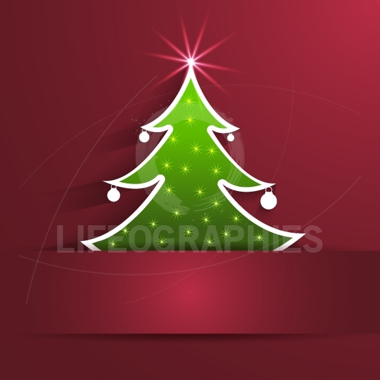 Paper Christmas Tree with shadow on red background card