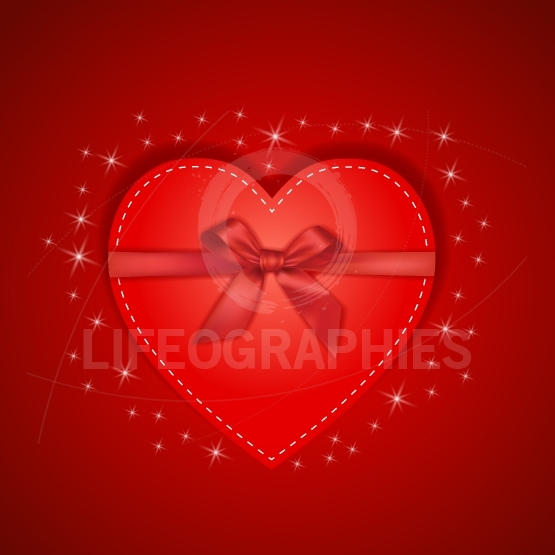 Paper red heart with gift bow and star