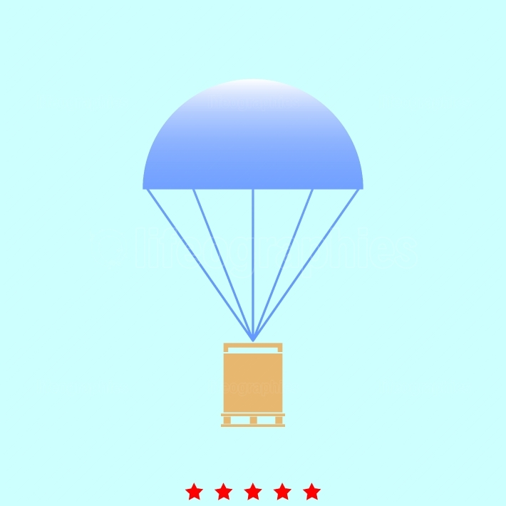 Parachute with cargo  set  it is color icon