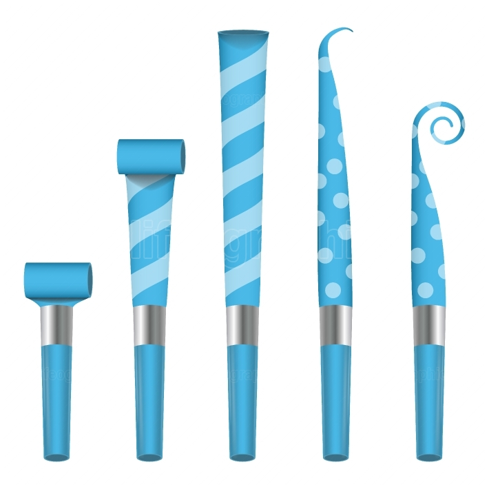 Party Horn Blower Vector  Blue Party Blower Sign  Isolated Illustration