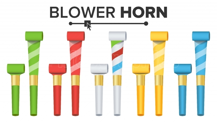 Party Horn Set Vector  Color Penny Whistle  Top View  Isolated On White Illustration