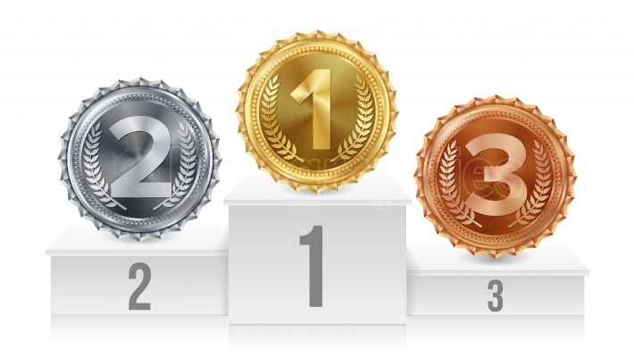 Pedestal With Gold, Silver, Bronze Medals Vector  White Winners Podium  Number One  1st, 2nd, 3rd Placement Achievement Concept  Isolated Illustration