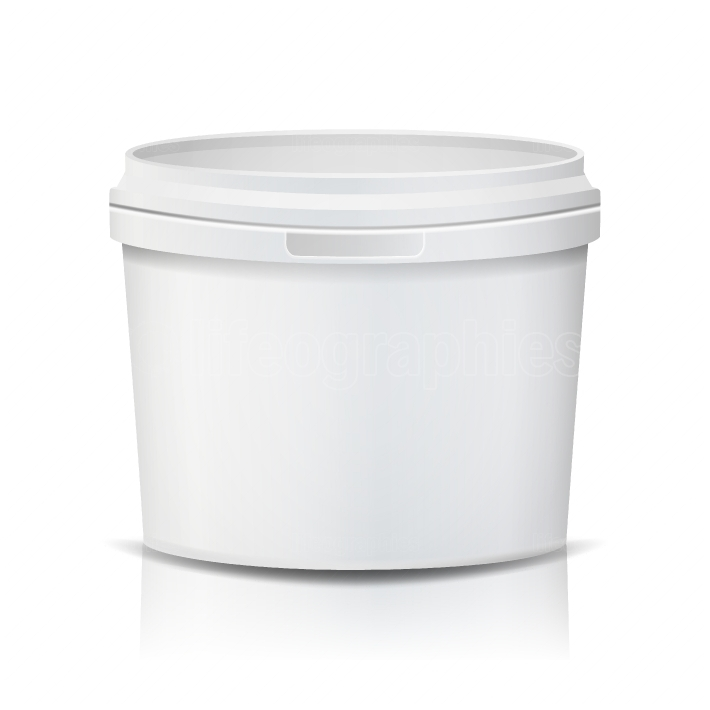 Plastic Bucket Vector  Realistic  Empty Clean  White Plastic Bucket For Dessert, Yogurt, Ice Cream, Sour Sream  Isolated On White Background Illustration