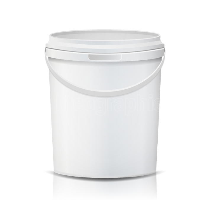 Plastic Bucket Vector  Realistic  White Empty  Container For Paint Or Food  Isolated On White Illustration
