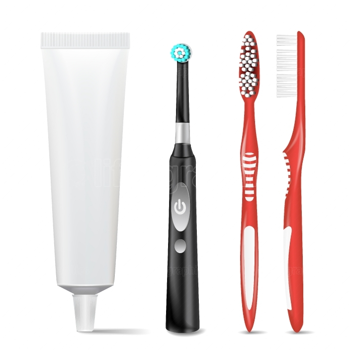 Plastic, Electric Toothbrush, Toothpaste Tube Vector  Mock Up For Branding Design  Isolated Dental Concept  Illustration