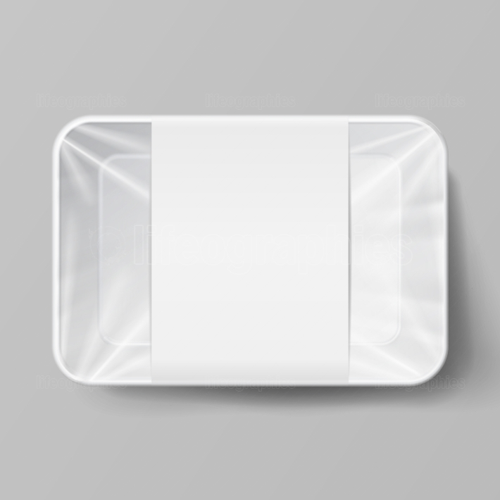 Plastic Food Container With Label  White Empty