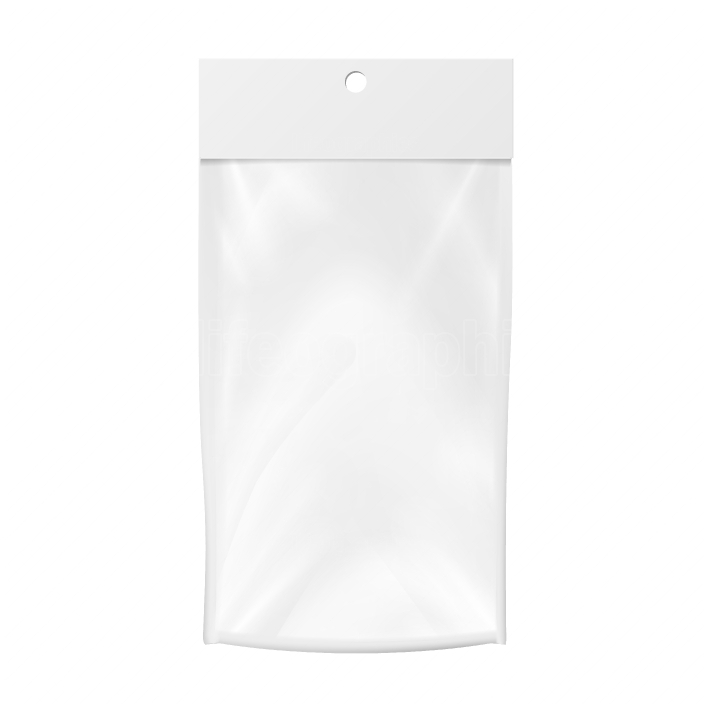 Plastic Pocket Vector Blank  Realistic Mock Up Template Of Plastic Pocket Bag  Clean Hang Slot  Packing Design Template  Isolated Illustration