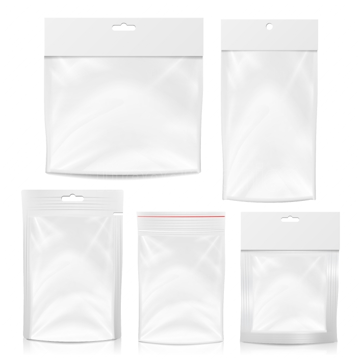 Plastic Polyethylene Pocket Bag Set Vector Blank  Realistic Mock Up Template Of Plastic Pocket Bag With Zipper, Zip lock  Clean Hang Slot, Pouch Packaging  Isolated Illustration