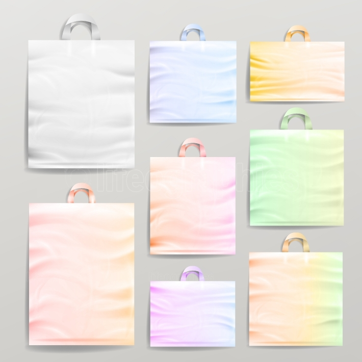 Plastic Shopping Realistic Bags Set With Handles  Colorful Empty Reusable Close Up Mock Up  Vector Illustration