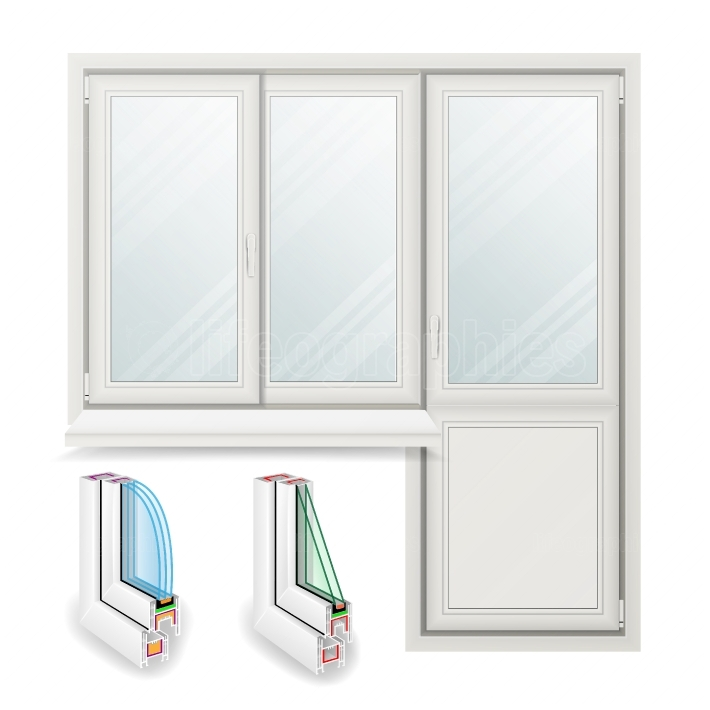 Plastic Window Vector  Opened Door  Home White Window Design Concept  Isolated On White Background Illustration