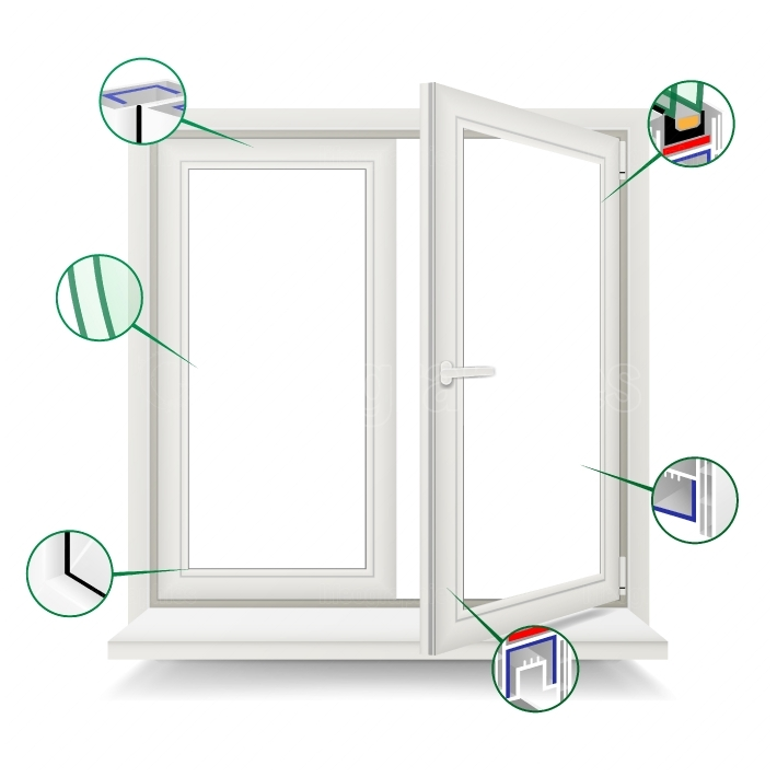 Plastic Window Vector  Window Frame Structure  Open Plastic Glass Window  Isolated On White Background Illustration