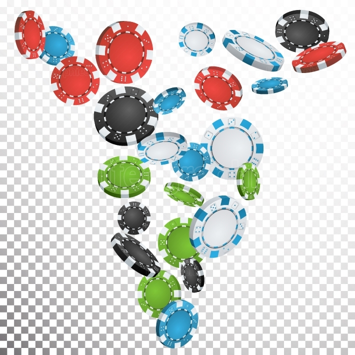Poker Chips Rain Vector  Casino Chips Falling Down  Transparent Background  Winning Prize Money Illustration