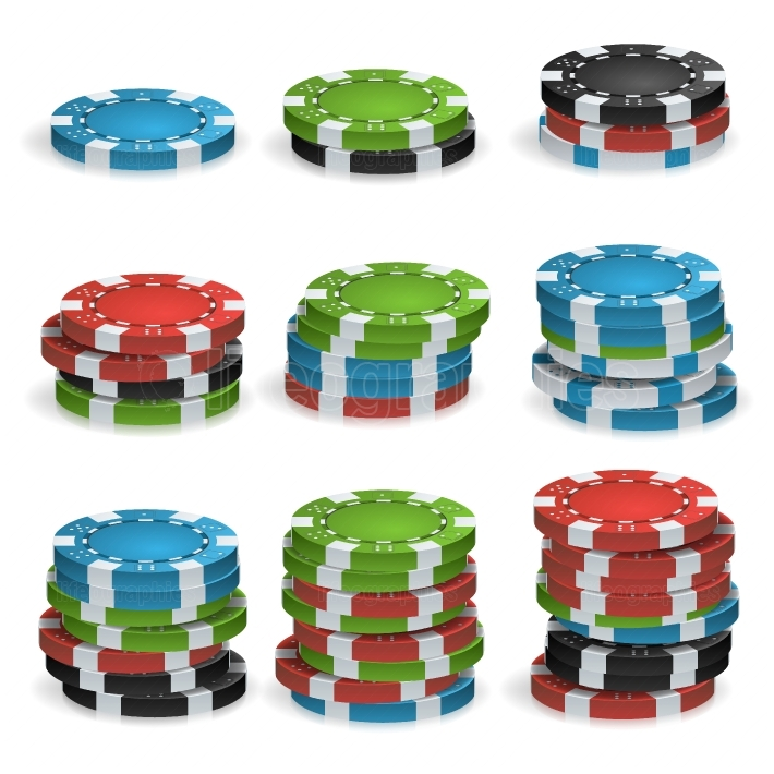 Poker Chips Stacks Vector  Plastic  White, Red, Black, Blue, Green Casino Chips Illustration  For Online Casino, Gambling Club, Poker, Billboard