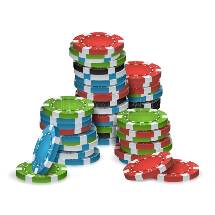 Poker Chips Stacks Vector  Plastic  White, Red, Black, Blue, Green Casino Chips Illustration  Poker Game Chips Isolated On White Background Illustration