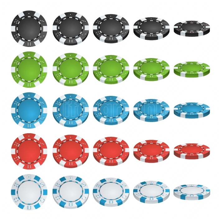 Poker Chips Vector  3D Realistic Set  Colored Poker Game Chips Sign Isolated On White Background  Flip Different Angles  White, Red, Black, Blue, Green Casino Chips Illustration