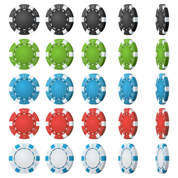 Poker Chips Vector  Flip Different Angles  Set Classic Colored Poker Chips Icon Isolated On White  White, Red, Black, Blue, Green Casino Chips Illustration