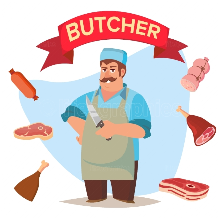 Professional Butcher Vector  Classic Butcher Man With Knife  Eco Farm Organic Market  For Storeroom Advertising  Cartoon Isolated Illustration