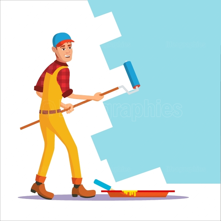 Professional Painter Vector  Painting Brush, Roller  Craftsman Painting Wall  Flat Cartoon Illustration