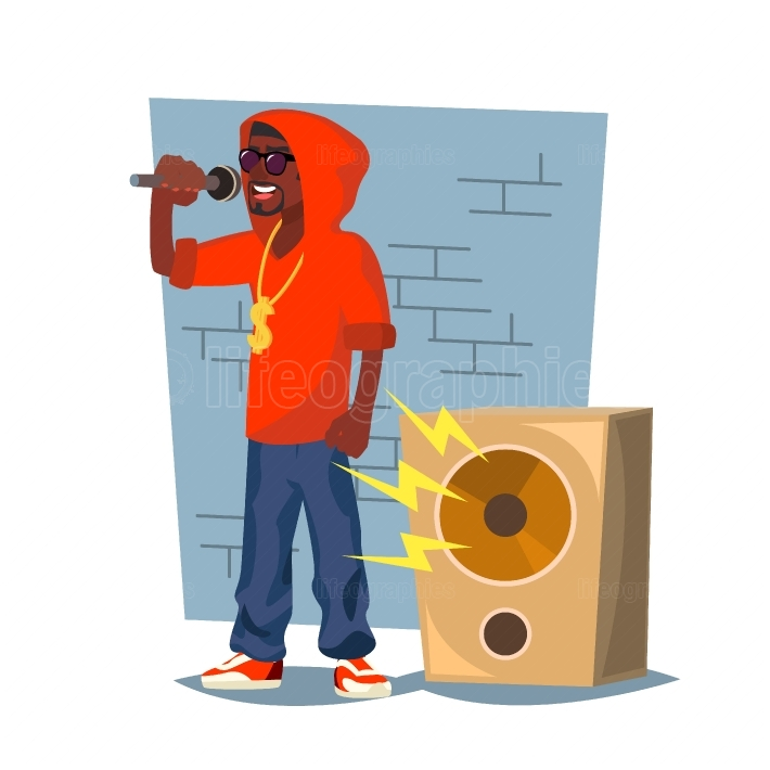 Professional Rapper Vector  Male Singer With Microphone  Cartoon Character Illustration