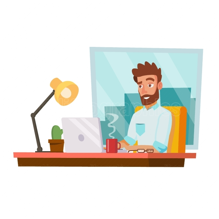 Programmer Man Vector  Development Working  Man Freelance Job Concept  Isolated On White Cartoon Character Illustration