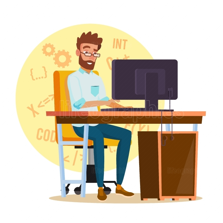 Programmer Man Vector  Stylized Young Developer  Person Working On Computer  Isolated Flat Cartoon Character Illustration