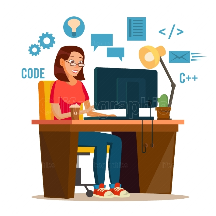 Programmer Woman Vector  Programmer Workspace  Working On Internet Using Laptop  Cartoon Character Illustration