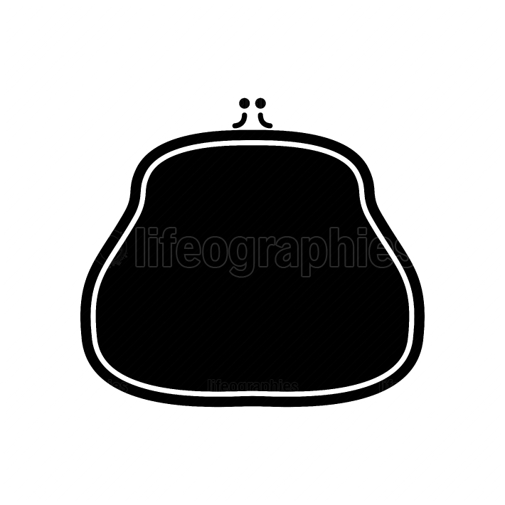 Purse black color icon