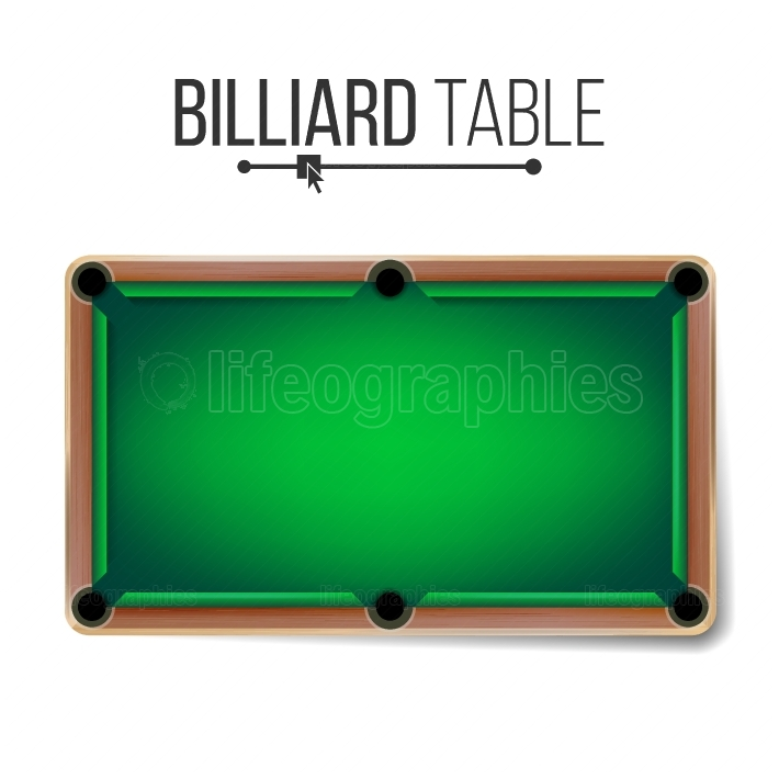 Realistic Billiard Table Vector  American Pool Table  Sport Theme  Top View  Isolated On White Illustration