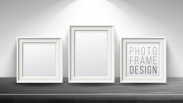 Realistic Blank Picture Frame Vector  Light Wood and Dark Wood Picture Frames Mock Up  Wooden Table On Interior Background  Front View  Realistic Design Template  Modern Clean Interior Illustration