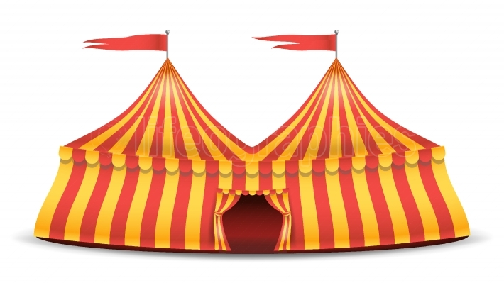 Realistic Circus Tent Vector  Red And Yellow Stripes  Cartoon Big Top Circus Tent Illustration
