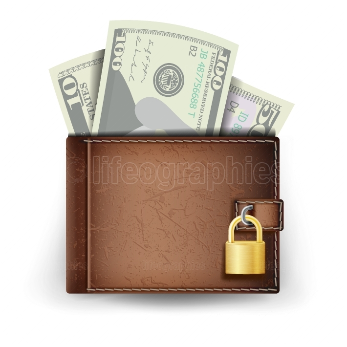 Realistic Classic Brown Wallet Vector  Locked With Padlock  Money  Top View  Finance Secure Concept  Isolated On White Background Illustration