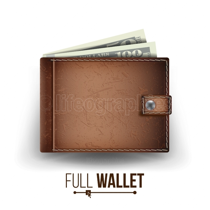 Realistic Classic Brown Wallet Vector  Money  Top View  Financial Concept  Isolated On White Background Illustration