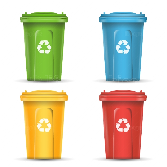 Realistic Containers For Recycling Waste Sorting Vector  Set Of Red, Green, Blue, Yellow Buckets