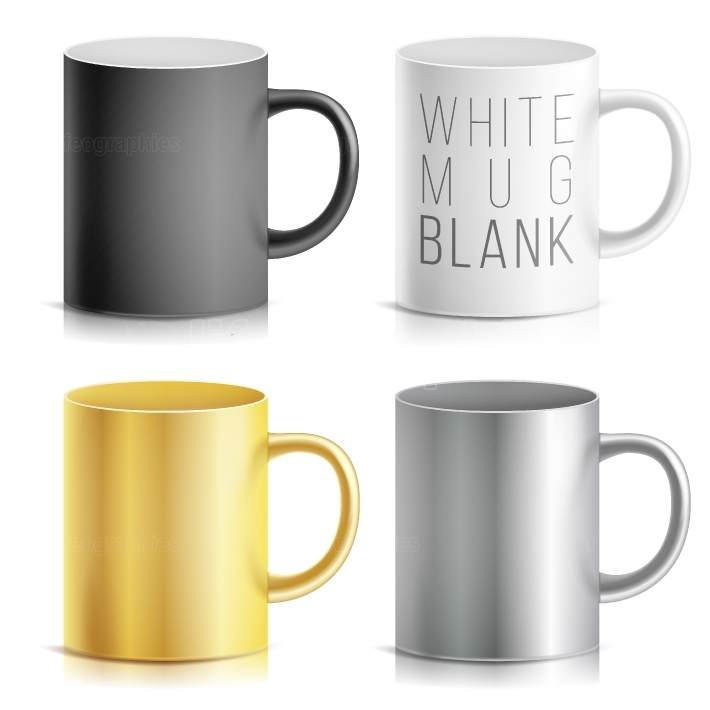 Realistic Cup, Mug Set Vector  White, Black, Silver, Chrome, Golden Cup Isolated On White Background  Classic Mug Template With Handle Illustration  For Business Branding