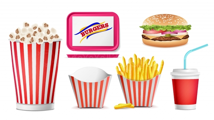 Realistic Fast Food Icons Set Vector  French Fries, Coffee, Hamburger, Cola, Tray Salver, Popcorn  Isolated Illustration