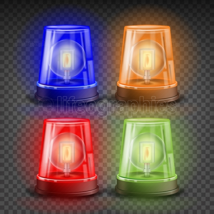 Realistic Flasher Siren Set Vector  Red, Orange, Green, Blue