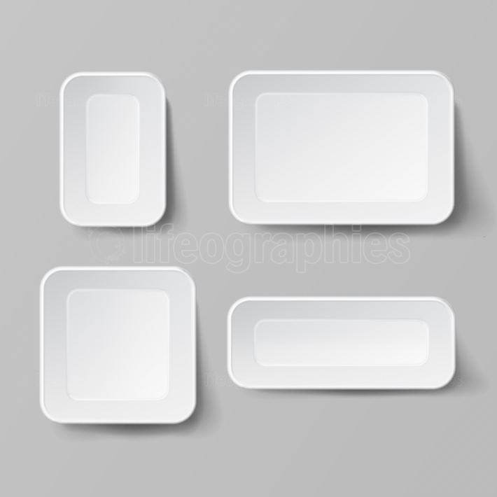 Realistic Food Container Set Vector  Empty Plastic Food Square Container  Good For Package Design  Empty Mock Up Vector Illustration