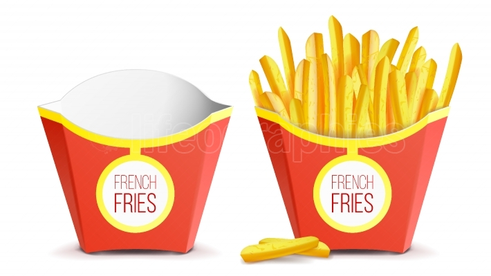 Realistic French Fries Potatoes Vector  Tasty Fast Food Potato  Empty And Full  Isolated On White Background Illustration