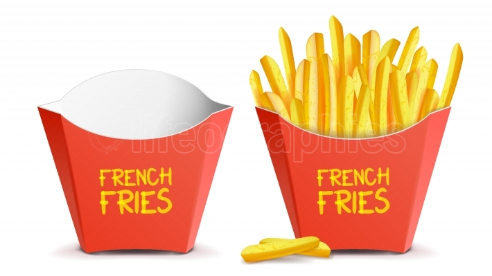Realistic French Fries Vector  Red Paper Package  Empty And Full  Isolated On White Illustration