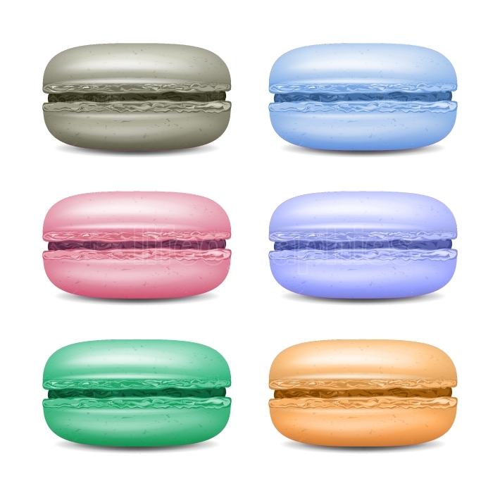 Realistic Macarons Set Vector  Detailed Colourful French Macaroons Isolated On White Background Illustration