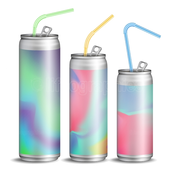 Realistic Metallic Can Vector  Soft Energy Drink  3D Template Aluminium Cans  Colorful Drinking Straws  Different Types  Good For Branding Design  500, 300, 250 ml  Isolated Illustration